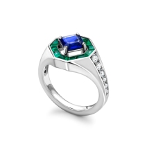 WHITE GOLD SIGNET RING WITH SAPPHIRE, EMERALD AND DIAMOND