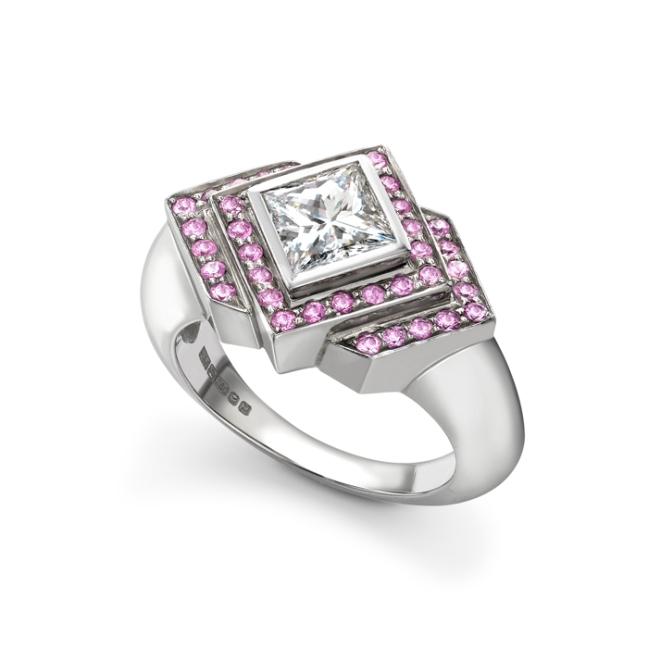 Diamond Pink Sapphire Ring
