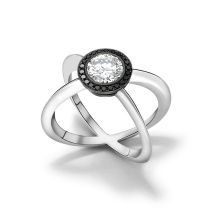 PLATINUM, WHITE AND BLACK DIAMOND RING